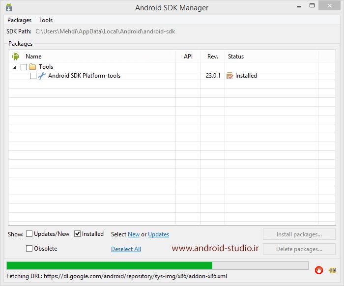آموزش نصب اندروید استودیو۲ : نصب Android SDK Build-tools مانند مرحله قبل، فایل build-tools_root_folder_23.0.2.rar را در پوشه build-tools قرار داده و از حالت فشرده خارج کنید (اگر این ...