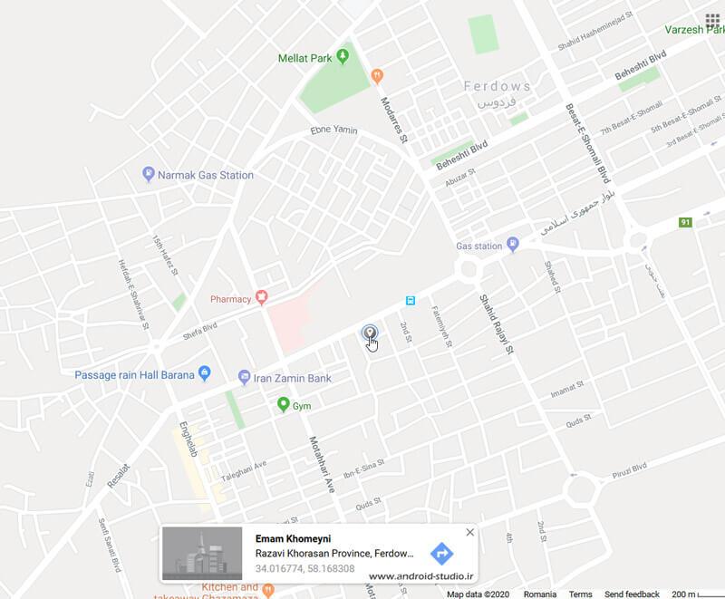 دریافت مختصات latitude و longitude روی نقشه گوگل