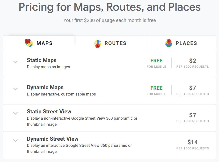 قیمتهای استفاده از API سرویس نقشه Google Map در اندروید