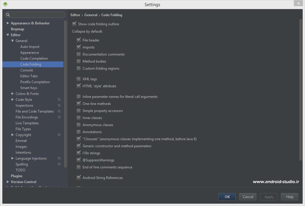 غیر فعال سازی Code folding