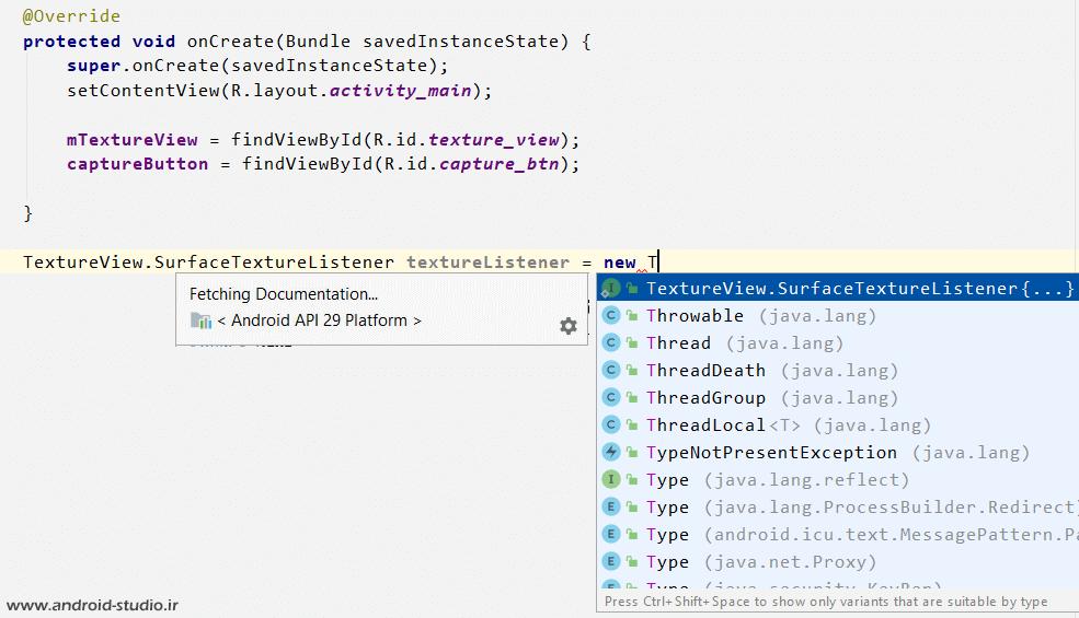 متد SurfaceTextureListener در Camera2 API