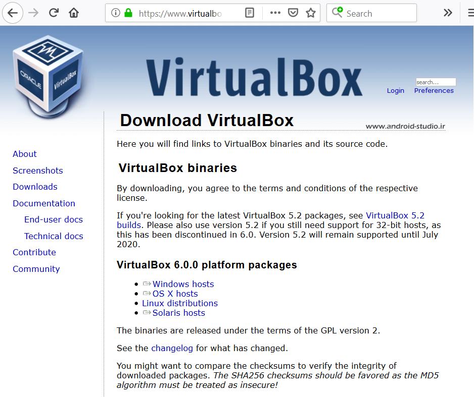 دانلود و نصب Oracle VM VirtualBox