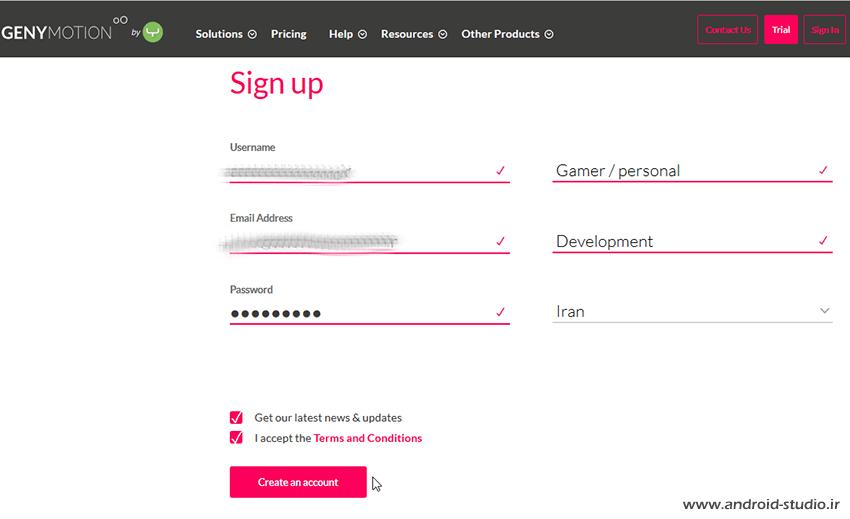 عضویت در genymotion.com