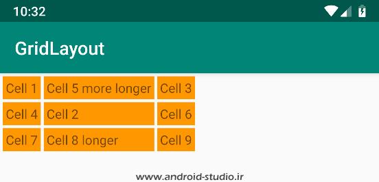 خاصیت های layout_row و layout_column در GridLayout