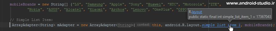 کد فایل پیش فرض list_item اندروید