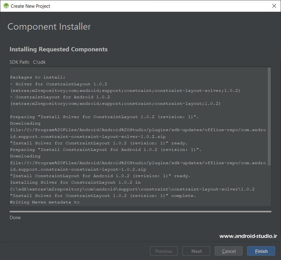 نصب کامپوننتهای مربوط به لایهی ConstraintLayout
