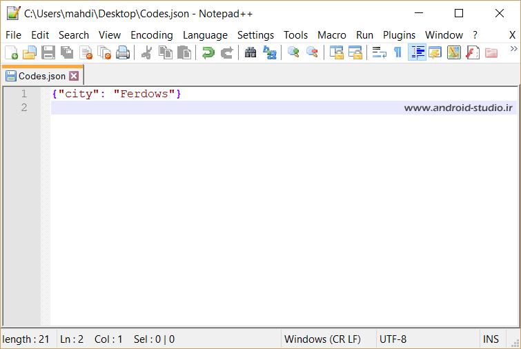 مثال ساده کد JSON